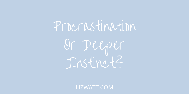Procrastination Or Deeper Instinct?